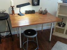 Restoration Hardware inspired Table/ Desk, Vintage Metal Desk Lamp, Aged Kettle Balls, and a Metal Stool