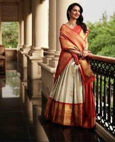23 Elegant Saree Lehenga Designs For The South Indian Brides! 23 Elegant Saree Lehenga Designs For The South Indian Brides! Lehenga Saree Design, Half Saree Lehenga, Indian Lehenga, Silk Lehenga, Saree Look, Lehenga Designs, Saree Dress, Silk Sarees, Indian Gowns
