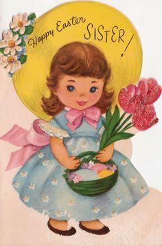 Vintage Happy Easter Sister Greetings Card B8 by poshtottydesignz