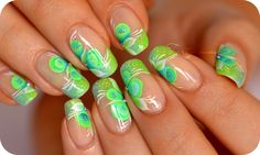 Nail art one stroke fluo french manucure paillette