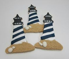 Lighthouse Cookies - Love these! Use those choc pebbles around bottom Summer Cookies, Fancy Cookies, Cute Cookies, Cupcake Cookies, Cupcakes, Iced Sugar Cookies, Royal Icing Cookies, Nautical Cake, Nautical Favors
