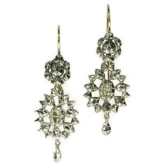 Antique Dangle Earrings Rose Cut Diamonds Victorian Era ref.08137-4154 (€1.855) ❤ liked on Polyvore featuring jewelry, earrings, victorian diamond earrings, long earrings, antique diamond earrings, antique jewellery and antique victorian earrings