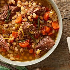 White Bean Soup With Lamb And Rosemary -  Per Serving: cal. (kcal) 295, Fat, total (g) 11, chol. (mg) 34, sat. fat (g) 3, carb. (g) 29, fiber (g) 7, pro. (g) 20, sodium (mg) 1433 (leave out the salt to reduce this)