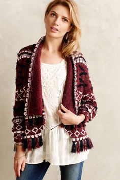 Fringed Veras Cardigan & Pintucked Peasant Top - anthropologie.com 9/14