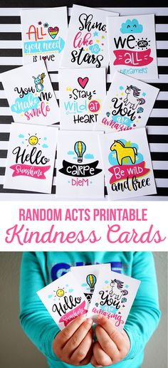 Printable Random Acts Kindness Cards - Service Project Ideas - Family Service - Kids Service