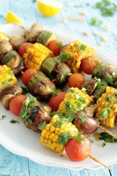 Peanut & Cilantro Veggie Skewers (Vegan + GF)