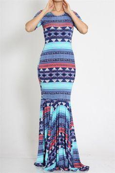 Blue Patterned Mermaid Hem Maxi Dress
