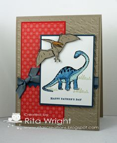 Rita's Creations: HSS Mojo Dino - great card for my grandsons Boy Cards, Kids Cards, Dinosaur Cards, Kids Birthday Cards, Animal Cards, Card Making Inspiration, Tampons, Masculine Cards, Stamping Up