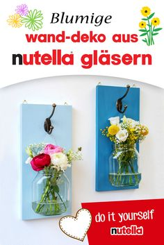 Flowery wall decoration made of nutella glasses - Art,Crafts,Sewing,DIY - Diy Crafts To Do, Arts And Crafts, Paper Crafts, Home Office Ideas For Women, Diy Nutella, Ideas Dormitorios, Diy Décoration, Diy Table, Diy Wedding