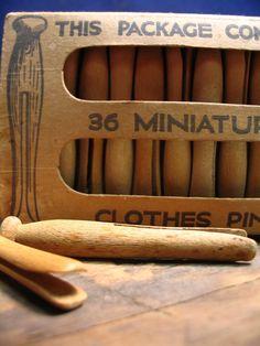 Vintage Miniature Wood Clothespins