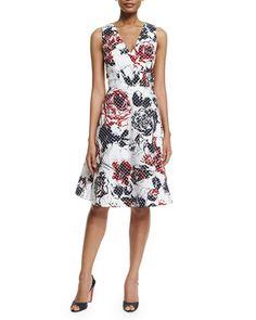 W08BG Carolina Herrera Dotted Rose-Print Sleeveless A-Line Dress, Red/Navy/White