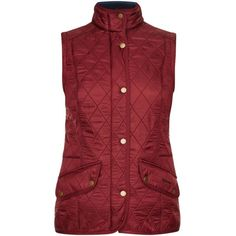 Women's Barbour Cavalry Quilted Gilet - Rosewood ($170) ❤ liked on Polyvore featuring outerwear, vests, studded vest, barbour vest, barbour gilet, barbour and red vest