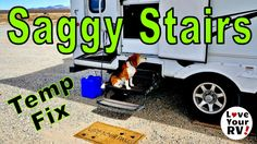 The fold out RV entrance stairs on our Cougar fifth wheel have never been the most rock solid things. They have always had a little bit ofgiveand spring to them. It's just the nature of fold out hinged RV stairs.