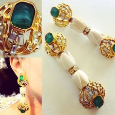 Pierced with Hinged Backs. Mirror Image, Art Decor, Emerald, Jewelry Design, Ivory, Antiques, Bracelets, Floral, Earrings