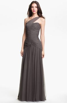 Monique Lhuillier Bridesmaids Pleated One-Shoulder Tulle Trumpet Gown available at #Nordstrom