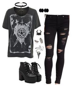 """""""Untitled #569"""" by trelyn-sutherland ❤ liked on Polyvore featuring Religion Clothing, True Religion, Nemesis, Disney, Pamela Love, Meadowlark, Mister and Natalie B"""