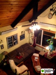 This lovely A-frame cabin in Kendall, WA uses our cove heaters. Here you can see them mounted on the wall, just below the ceiling.  www.heatinggreen.com