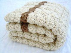 Crochet Baby Blanket, Baby Blanket, Crochet Off White Baby Blanket, Vanilla Latte with Mocha accents, crib size