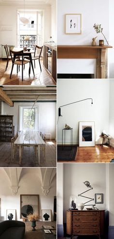 natural wood home furnishings and decor. Ultra Modern Homes, Interior Decorating, Interior Design, Decorating Ideas, Dining Room Inspiration, House In The Woods, White Walls, Midcentury Modern, Interior And Exterior