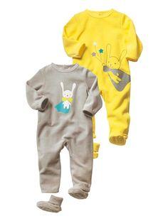 Verbaudet: Lote de 2 pijamas para bebé em veludo, unissexo AMARELO VIVO LISO