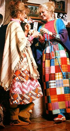 Multi-colored patchwork fashion, early 1970s. 1972 I visited my cousin Linda in New Jersey. She knew I sewed so wanted me to help her make a patchwork skirt like this. We chose some kind of fabric with a sheen so it could be an evening skirt.