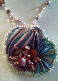 Beautiful Aureal Borealis Shibori Silk Necklace on Etsy, $51.21 AUD - #beading