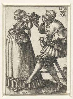"""""""Dansend paar met de armen omhoog"""", 1538, Heinrich Aldegrever (1502-1561)  Items hanging from belt"""