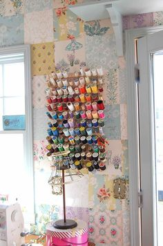 The very talented Michelle from Rose Mille - her wallpaper quilt wall. LOVE.