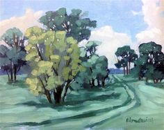 """Daily Paintworks - """"Field of Trees"""" - Original Fine Art for Sale - © Linda Blondheim"""