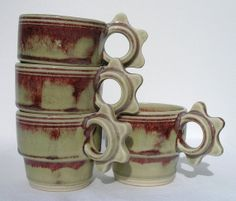 stackable cups in red chun  set of four by LightaFire on Etsy, $50.00