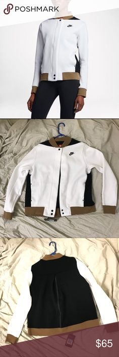 NWT Nike tech fleece destroyer Jacket White soft brown black destroyer new with tag. 66% cotton 34% polyester   Shipped same day or next day depending on time of purchase.  -New items PRICES ARE FIRM. Offers will be considered for used items through the offer button ONLY. -All NIKE products are directly from NIKE. 100% Authentic. -Bundle items to save More ‼️ Nike Jackets & Coats
