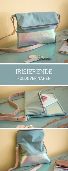 Nähanleitung für eine Schultertasche mit irisierenden Elementen, #taschenähen / #sewingpattern for a shoulder bag via DaWanda.com