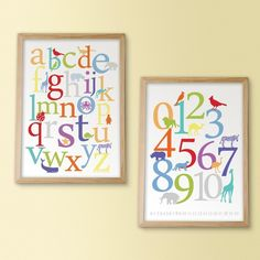 Numbers and letters prints - can be customized to suit any decor.
