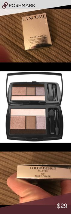 Lancôme Color Design 5 Pan Eyeshadow Palette SWATCHED ONCE ONLY. Lancôme Color Design 5 Pan Eyeshadow Palette in Taupe Craze. Lancôme brings the freedom to play with the easy to use 5 shadow palettes – create countless looks from a single palette.  NOTE: Anything purchased after 3:00pm on a Friday cannot be shipped out until the following Monday afternoon. Lancome Makeup Eyeshadow