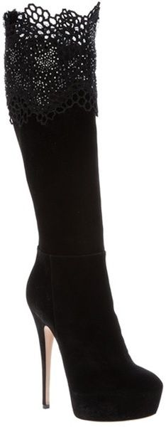 Knee high boots. Lace at the top!