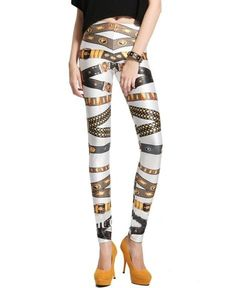 Women's #Fashion Clothing: Pants, Tights, and #Leggings: Medals & Bandage #Print Elastic Waist Legging: Clothes