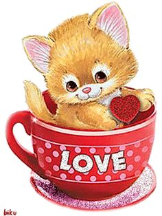(via Jessica Bove) Love in a tea (coffee? Kitten Cartoon, Cute Cartoon, Love You Images, Beautiful Gif, Animation, Gif Animé, Valentine Day Love, Valentines, Happy Smile