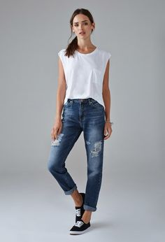 Distressed Boyfriend Jeans | Forever 21 - 2000154084
