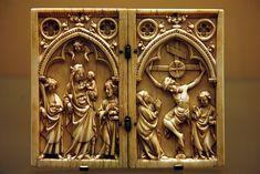 Diptico de marfil,año 1350,de marfil,hecho en Paris  Museo de Dijon