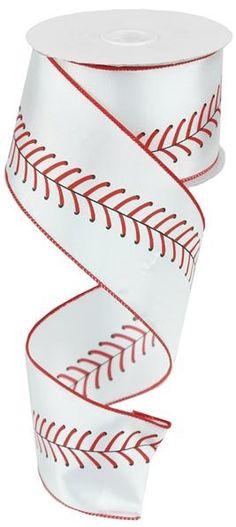 "Baseball Ribbon w/ Red Stitching Sports Ribbon - 2.5"" x 10 yd"