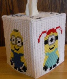 Minion Inspired Tissue Box Pastic Canvas Pattern by PCDesignz, $3.00