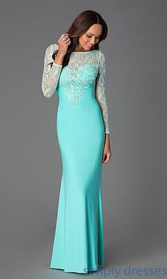 Floor Length Prom Dress with Lace Bodice and Long Sleeves at SimplyDresses.com