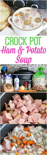 Crock Pot Potato & Ham Soup recipe from The Country Cook. This has got to be the best soup I have ever made! Seriously, so good. It's like a creamy potato soup with chunks of ham - amazing!