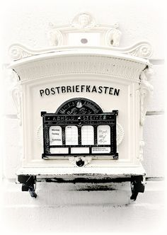 """Limburg, Germany ~~~~This Post box or else """" Postbriefkasten"""" ( I adore pronounching this word in German!) was found in the old city of Limburg and was originally yellow."""
