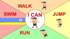 I can + jump / swim / walk / run / crawl / sleep / fly / climb . like a kangaroo / a whale / a tall giraffe / an ostrich / a jungle snake / like a sloth / like a bird in the sky / like a monkey Learning English For Kids, Kids English, Teaching English, Learn English, Kids Learning, Esl Lessons, Lessons For Kids, English Lessons, Verbs For Kids