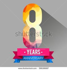 8 Years Anniversary logo. with colorful polygonal. - stock vector