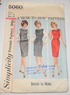 Simplicity 5060 Vintage Sewing Pattern Teen Jumper Dress #1960s #dress #jumper-dress #ladies #simplicity #teen #vintage #patterns #sewing #retro #vintagestitching