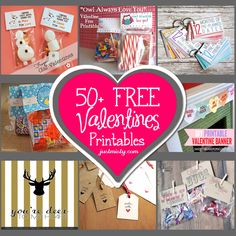50 Plus Free Valentines Printables via http://justmisty.com/list-of-free-valentines-printable-cards-banners-bag-toppers-tags-decorations-and-more/