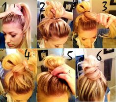 Top knot bun, how-to! Good to know and see cause I suck at hair lol