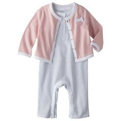 Cherokee® Newborn Infant Girls' Polkadot Jumper and Striped Cardigan Set